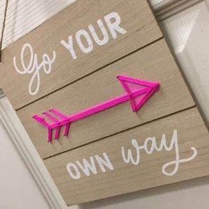 NWT GO YOUR OWN WAY neon wood decor hanger